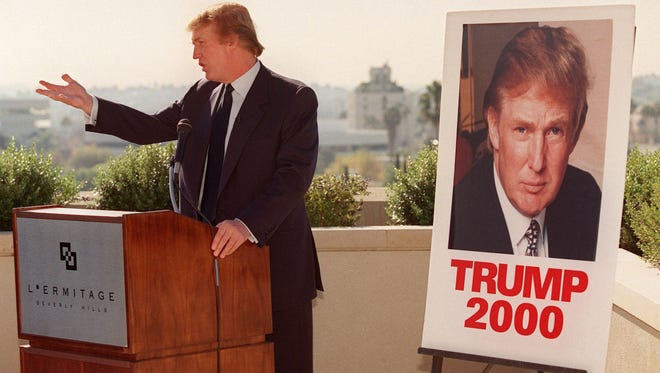 New York billionaire real estate tycoon Donald Trump, seen here in a Dec. 5, 1999, file photo at an appearance in Beverly Hills, Calif., was running as the Reform Party presidential candidate in  2000 and advocating for universal health care, abortion rights, cutting taxes for the middle class and raising taxes on the wealthy.