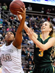 York Catholic's Abby Pilkey, right, had 14 points on Friday in a first-round state playoff win over Mastery Charter South. Dawn J. Sagert photo.