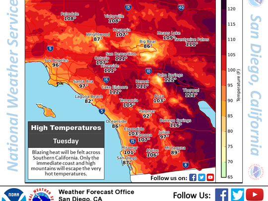 This image from mid-July illustrates weather conditions across Southern California. Temperatures surpassed 120 degrees in some areas, according to the National Weather Service.