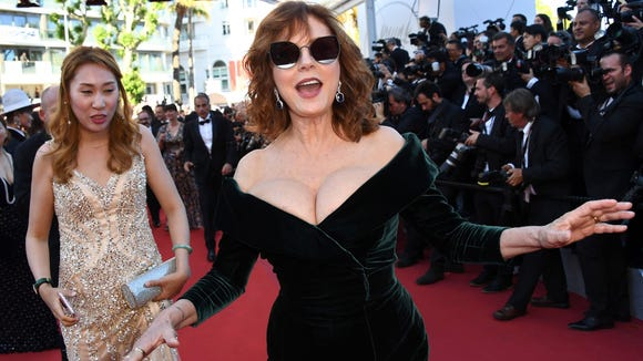 Susan Sarandon readies to ascend the Palais' famous