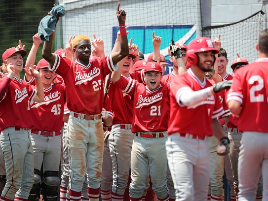 Rossview players celebrate after Gage Bradley (right) scores Wednesday.