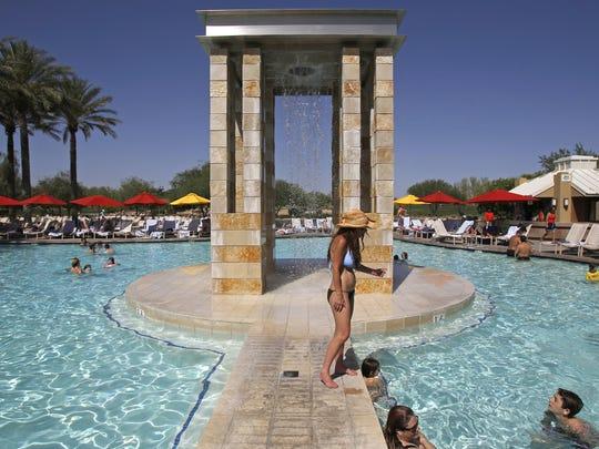 Visitors play in the pool Saturday, May 7, 2011 at