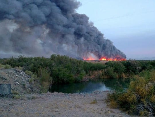 This photo provided by the Mohave Valley Fire District