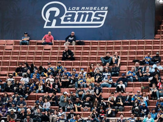 File- Surrounded by empty seats Los Angeles Rams fans watch their team play the Atlanta Falcons in an NFL football game on Sunday, Dec. 11, 2016, in Los Angeles. TV ratings declined 8 percent, with the presidential election partly, but not solely, to blame. Many of the league's highest-profile contests were boring blowouts, including eight of the 10 playoff games leading to Sunday's Super Bowl between the Patriots and Falcons.