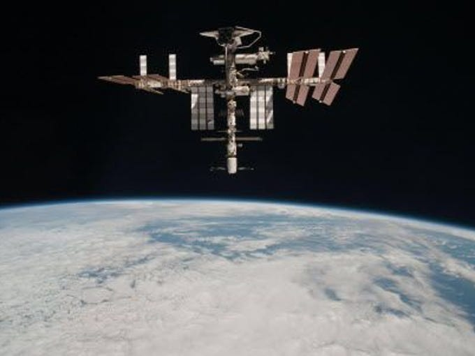 The International Space Station travels at 17,500 mph, or roughly the equivalent of five miles per second.