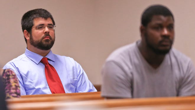"Matthew Heimbach, left, accused of harassing a Donald Trump protester during a 2016 rally in Louisville, appeared in court Wednesday morning at the Hall of Justice. Heimbach said afterwards that ""given Mr. Trump has betrayed a lot of his campaign promises I wish I had never been there to support him in the first place but when it comes to the conduct of that day, no regrets."""