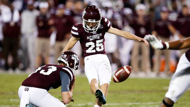 Mississippi State Westin Graves (25) kicks a field goal against LSU during the second half of an NCAA college football game in Starkville, Miss., Saturday, Sept. 12, 2015. No. 14 LSU won 21-19. (AP Photo/Rogelio V. Solis)