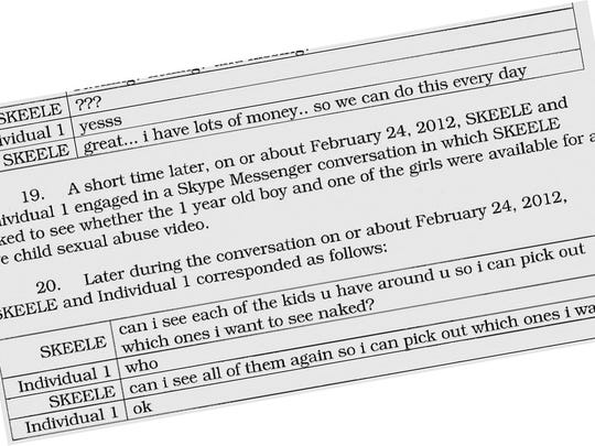 Excerpts from transcripts of conversations included in 2016 child pornography complaint by the U.S. Attorney's office against Florham Park resident and former teacher Colin M. Skeele, who pleaded guilty to one count of child pornography on July 16, 2018 in Newark federal court.