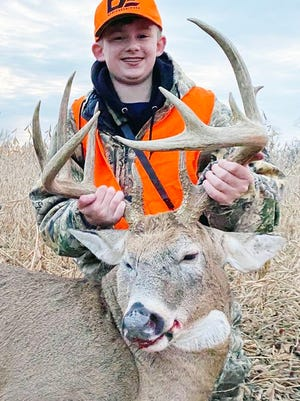 Preliminary data shows that young hunters harvested 15,591 deer during the early youth portion of firearms deer season Oct. 31 through Nov. 1. Pictured is Tony Peters of Linn, who harvested this buck as part of a mentored hunt in Putnam County.