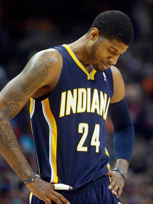 Paul George scored 18 points on 6-of-18 shooting for the Pacers.