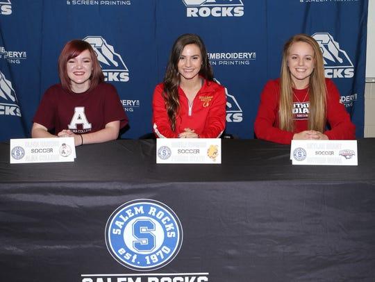 Salem girls soccer players (from left) Olivia Harkins,