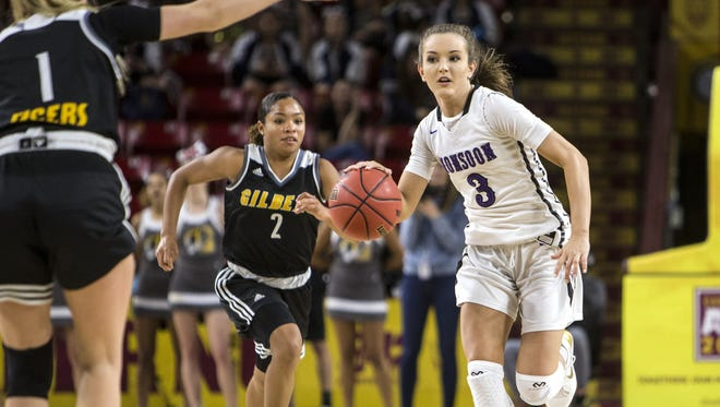 Valley Vista's Taylor Chavez drives downcourt against Gilbert in the second half of the 6A girls basketball semi-final on Wednesday, Feb. 21, 2018 at Wells Fargo Arena in Tempe, Ariz.