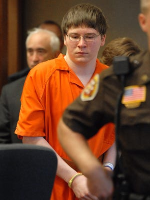 Brendan Dassey is escorted into court for his sentencing in Manitowoc on Aug. 2, 2007.