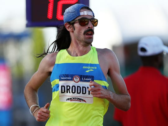 Noah Droddy runs in the Men's 10000 Meter Final during the 2016 U.S. Olympic Track & Field Team Trials at Hayward Field on July 1, 2016 in Eugene, Ore.