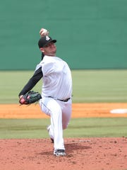 2 jackson Generals' pitcher Misael Siverio grimaces with his effort Sunday agai.