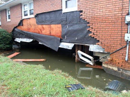 Hurricane Sandy damaged foundations of homes in Sayreville.
