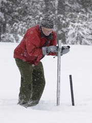 Frank Gehrke, chief of the California Cooperative Snow Surveys Program for the Department of Water Resources, plunges a survey tube into the snowpack as he conducts the second manual snow survey of the season at Phillips Station near Echo Summit, Tuesday, Feb. 2, 2016. The survey showed the snowpack at 130 percent of normal for this site at this time of year.