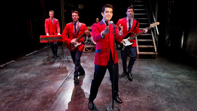 The cast and company of the national touring company of 'Jersey Boys.' From left: Quinn VanAntwerp, Nicolas Dromard, Hayden Milanes and Adam Zelasko.