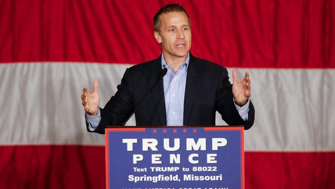 Eric Greitens speaks before Republican Vice Presidential Candidate Mike Pence's appearance during a town hall meeting at the Springfield Exposition Center in Springfield, MO on Tuesday, September 6, 2016.