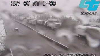 Screen capture from CalTrans video camera on I-80 at Highway 89.