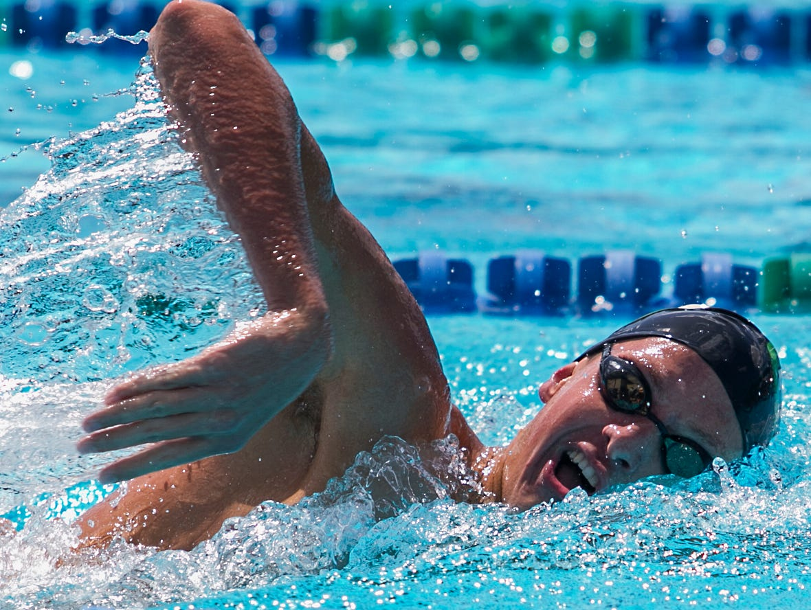 Fort Myers High School swimmer Clay Riemenschneider won the third heat of the boys 500m freestyle competition with a time of 4:44.88 Monday afternoon. The meet was part of the Lee County Athletic Conference swimming championships held at FGCU.