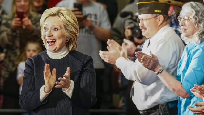 Democratic presidential candidate Hillary Clinton arrives for a campaign appearance in Toledo, Iowa, on Jan. 18, 2016.