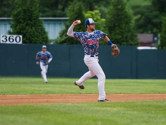 The Staunton Braves' Kam Gellinger fields a ball during