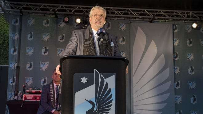 Minnesota United owner Bill McGuire speaks during a news conference Friday about Minnesota United joining the MLS at CHS Field in St. Paul.