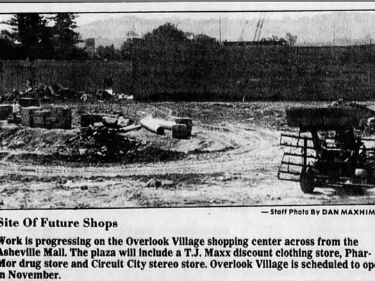The Overlook Village shopping center under construction in July 1989 in Asheville. The facility opened later that year.