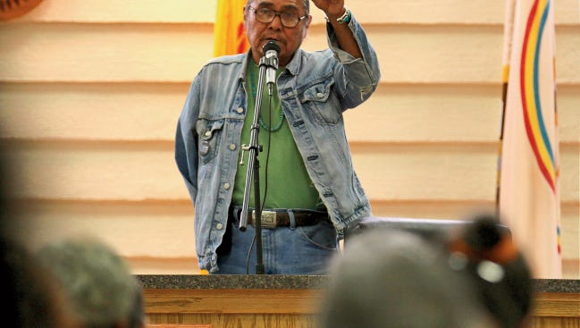 """Shiprock Chapter President Duane """"Chili"""" Yazzie speaks on Monday during an emergency farmers meeting at the Shiprock Chapter house about San Juan River water."""