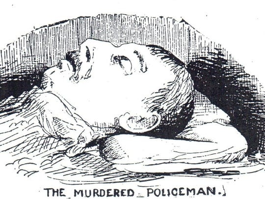 The only known image of slain Wilmington Officer Charles W. Schultz is this drawing from news accounts of his death, called the oldest cold-case killing of a police officer.