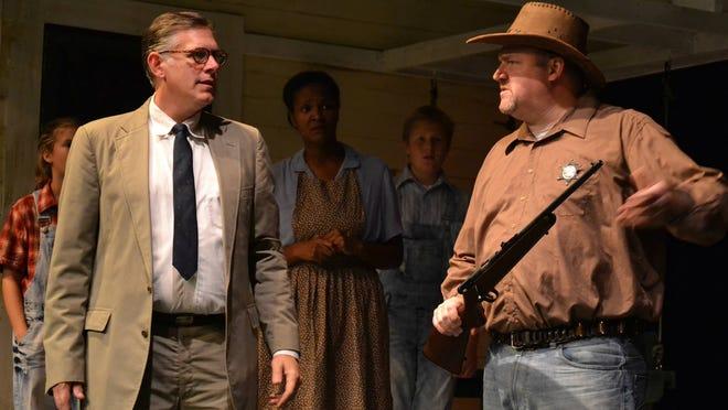 "Cam Hay (as Atticus), Shawn Kline (as Sheriff Tate), Molly Evanko (as Scout), Tomorrow Jenkins (as Calpurnia) and Case Rohrbacher (as Jem) in Wilmington Drawa League's ""To Kill a Mockingbird."""