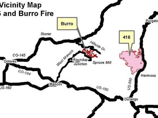 This map shows the locations of the 416 and Burro fires.
