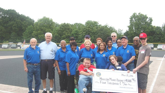 As part of a celebration of the new Mauldin Civitan Club, members of the Greenville Civitan Club presented a $4,000 check to the Mauldin Miracle League.