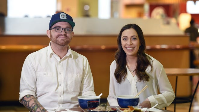 Chris Arturo, Chef at Ani Ramen House in Montclair and reporter Sophia F. Gottfried at Mitsuwa in Edgewater.