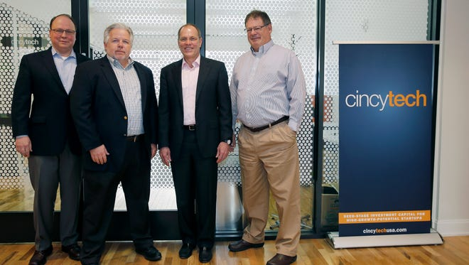 Doug Groh, director, left, Mike Venerable, managing director, Bob Coy, President and CEO and John Rice, director of life sciences, of CincyTech in Over-the-Rhine. CincyTech is the largest seed investor in the region and one of the top five in the Midwest. The Cincinnati-based accelerator projects the CincyTech Fund IV LLC  will create at least 600 jobs in Southwest Ohio over the next five years. New hires would earn on average about $80,000 a year. Photo shot Friday April 15, 2016.