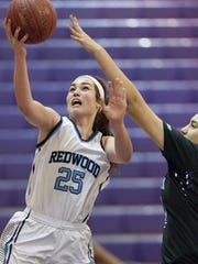 Redwood's Madison Kast, left, goes up for two against