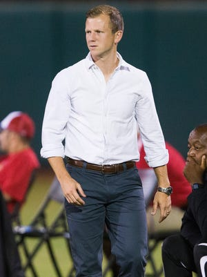 Arizona United coach Michael Dellorusso watches his team play against Chula Vista F.C. during the U.S. Open Cup second round at Scottsdale Stadium on May 20, 2015.