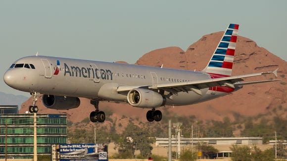 An American Airlines Airbus A321 jet lands at Phoenix