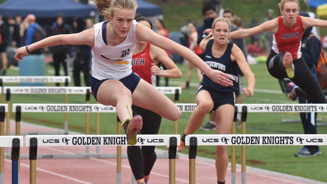 Ramsey Emily Grubb wins in 110m hurdles on the Second Day of Bergen Track championships on Saturday, May 12, in Old Tappan, NJ.