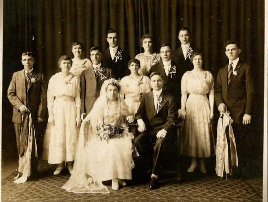 This 1917 wedding photograph of Emily Kaiser and Christ