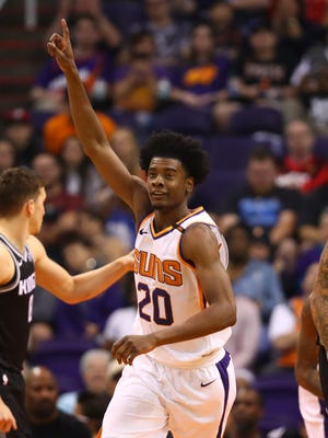 Apr 3, 2018: Phoenix Suns guard Josh Jackson reacts in the fourth quarter against the Sacramento Kings at Talking Stick Resort Arena.
