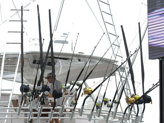 A crew member of the Kallianassa, from Naples, Fla., waits for the scales to open on Day 2 of the 43rd annual White Marlin Open in Ocean City, Maryland, on Aug. 9, 2016.