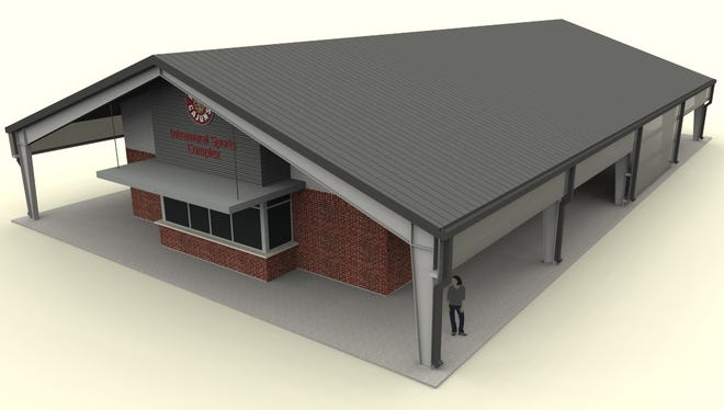 Construction on an intramurals sports building, shown in this rendering, at the University of Louisiana at Lafayette is projected to be complete this summer.