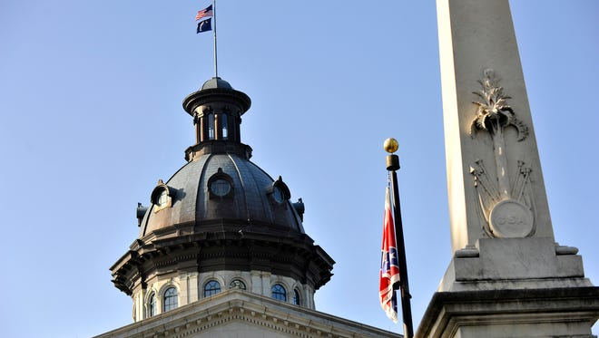 The last day the Confederate flag flew on S.C. Statehouse grounds on Friday, July 10, 2015.