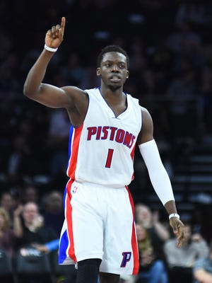 Pistons guard Reggie Jackson (1) celebrates during the second quarter of the Pistons 127-122 overtime win Wednesday at the Palace.