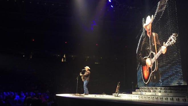 Bryan Kennedy opening up for Garth Brooks recently in Lubbock, Texas.