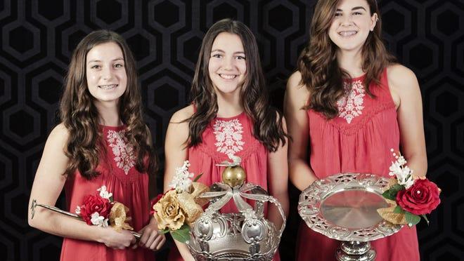 Tulare 2016 Festa Queen Madison Esteves, center, and attendants Mikayla Esteves, right, and Chastine Gist.