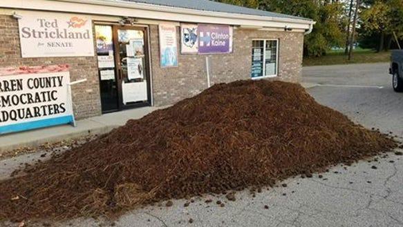 Manure pile outside Warren County Democratic headquarters