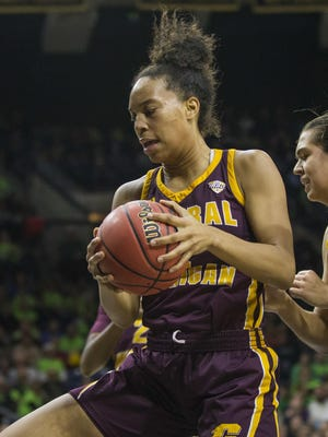 Central Michigan's Tinara Moore is the reigning Mid-American Conference Player of the Year. She also repeated as the MAC Defensive Player of the Year, the fourth time that's been done in MAC history.